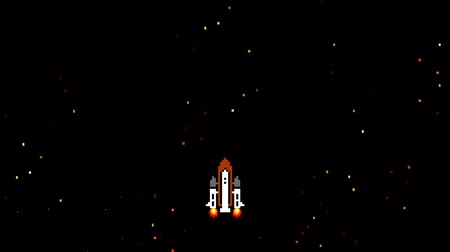 arcada : Space Shuttle Flying Up In Old Video Game Style