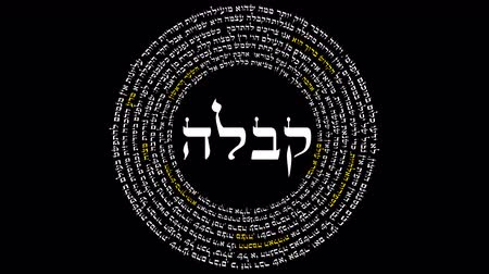 judaizm : The Word Kabbalah Surrounded By Words of Hebrew Wisdom