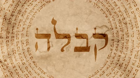 numerology : The Word Kabbalah Surrounded By Hebrew Words on Old Paper