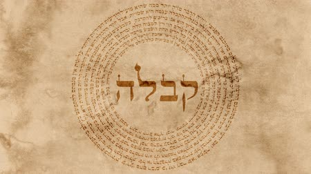 jewish : The Word Kabbalah with Holy Hebrew Words on Old Paper