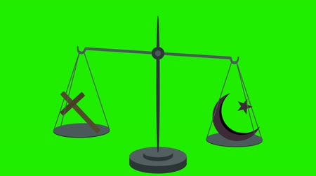social inequality : Christianity Vs Islam on Scales in Loop in Green Screen Stock Footage