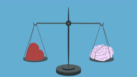 social inequality : Brain Vs Heart on Scales Stock Footage