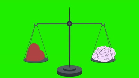 felsefe : Heart Vs Brain on Scales on a Green Screen Stok Video