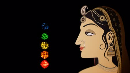 puja : Indian Hindu Woman and the Seven Chakras Stock Footage