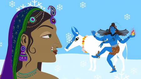 shiva : Lord Shiva Nandi and Parvati on Kailash Mountain Stock Footage