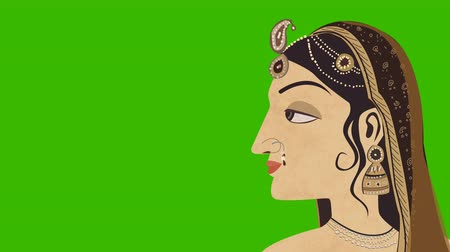 puja : Traditional Indian Hindu Woman on a Green Screen Stock Footage
