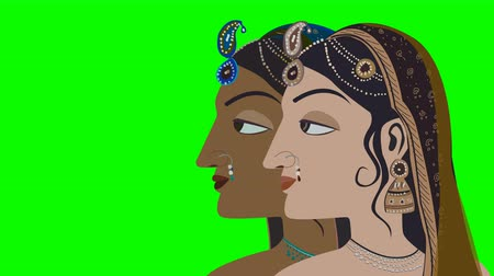 puja : Two Traditional Indian Hindu Women on a Green Screen