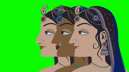 puja : 3 Traditional Indian Hindu Women on a Green Screen
