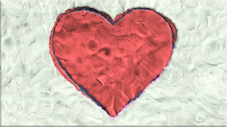 глина : Big Heart Made of Clay in Stop Motion