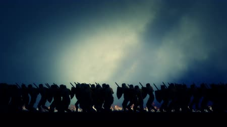 storming : Army of Knights Marching in Battle Field