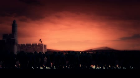 richard : Crusades Knights Marching into Jerusalem Stock Footage