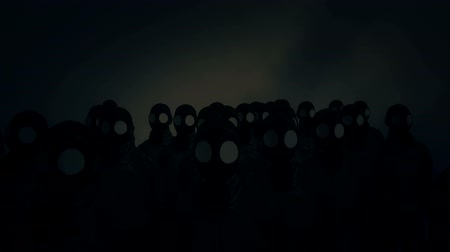grim : People with Gas Masks in a Nuclear Stock Footage