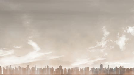 reçel : City Caught in a Dust Storm Animation Stok Video