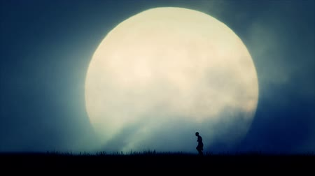 fome : Ancient Civilization Injured Man Walking on Full Moon Background Vídeos