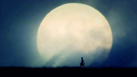 gatherer : Ancient Civilization Man Walking on Full Moon Background