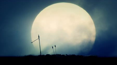 after the storm : Spear and Arrows After Battle on a Full Moon Background Stock Footage
