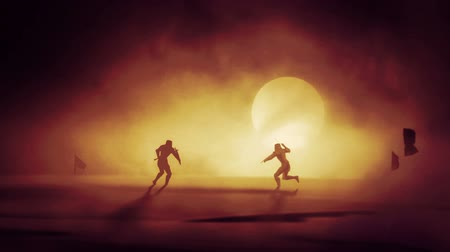 фехтование : Duel Between Two Knights in a Middle of a Dust Storm