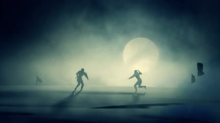 infantaria : Duel Between Two Knights on a Full Moon Background Stock Footage
