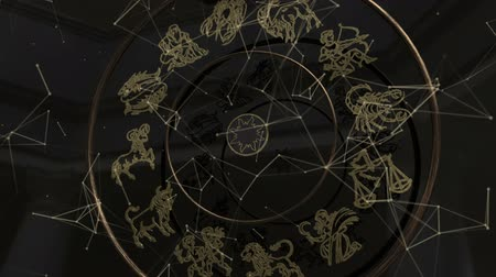 strzelec : Zodiac Signs Inside a Golden Wheel with Plexus