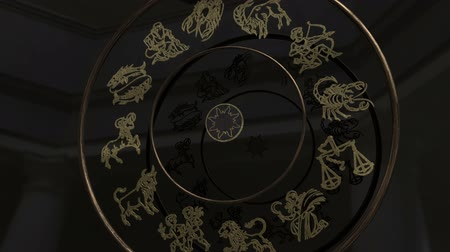 libra : Golden Zodiac Signs Inside a Wheel