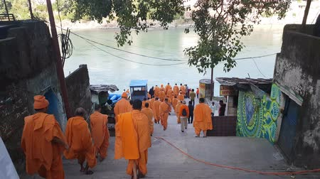 puja : Monks With Saffron Robes On Ganga Ghat