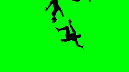 Men Falling Down on a Green Screen