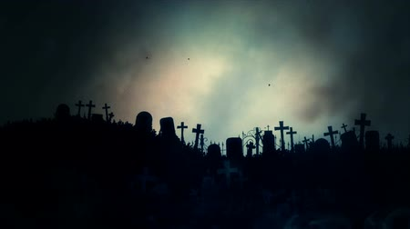 dia das bruxas : Scary Graveyard Fog and a Lightning Storm Stock Footage