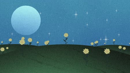 травянистый : Full Moon Stars And Flowers In Papercut Animation