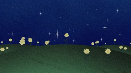 çimenli : Green Field And Shinny Stars Retro Papercut Background