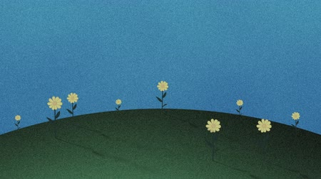 травянистый : Hills And Flowers Retro Cutout Background Стоковые видеозаписи