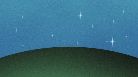 травянистый : Beautiful Glittering Stars And Grass Hill Cutout Background