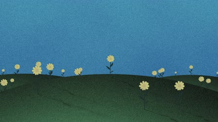 травянистый : Cutout Grass Hills And Flowers Retro Cartoon Background Стоковые видеозаписи