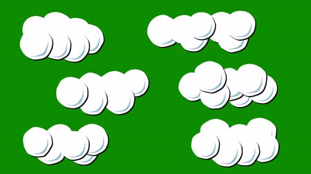 vector : A Set of Clouds Animation in Cartoon Style on a Green Screen Background Stock Footage