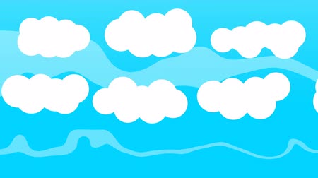 vector : Cartoon Animated White Clouds on Blue Sky Stock Footage