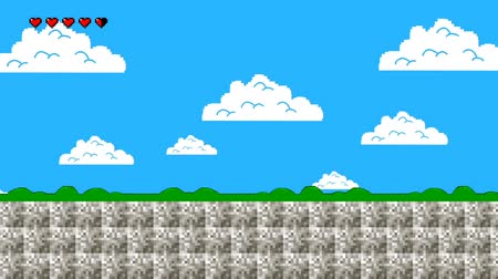 arcades : Clouds and Green Hills in Retro Video Game Style