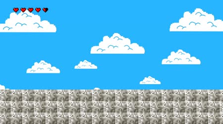 çini : Old Video Game Level with Blue Sky Walking Forwards in Seamless Loop