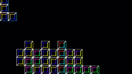 mosaico : Tetris Video Game Digital Style In Alpha Channel Stock Footage