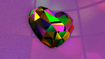 steinherz : Sehr bunter Diamond Shaped Heart mit flackernden Lichtern Videos