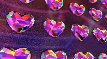 драгоценные камни : Very Vibrant Colorful Heart Shaped Diamonds Wall Flickering
