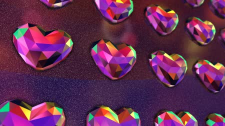 rubi : Wall of Flickering Colorful Heart Shaped Diamonds