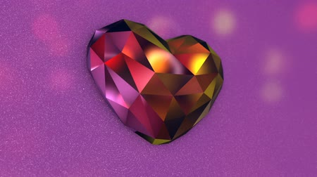drahokamy : Beautiful Colorful Diamond Shaped Heart on a Pink Background
