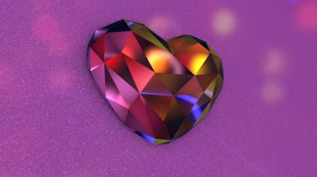pedra preciosa : Beautiful Colorful Diamond Shaped Heart with Flickering Lights