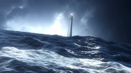 bible black : View on a Lighthouse from a Stormy Ocean