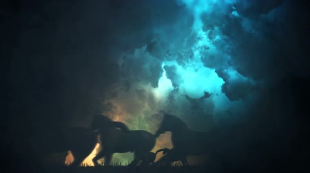 arabian horses : Herd of Horses in Running Through an Epic Storm
