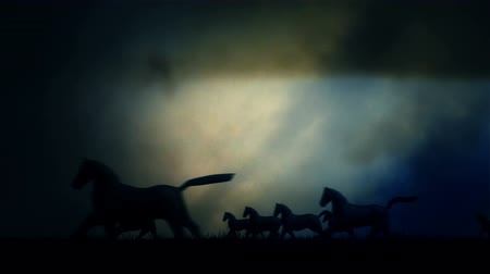 terbiye : Herd of Horses in Running Through a Lightning Storm Stok Video