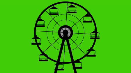 giant wheel : Amusement Park Silhouette Giant Wheel Turning Vector Seamless Looping Green Screen