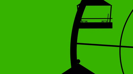 giant wheel : Amusement Park Silhouette Giant Wheel Vector Seamless Looping on a Green Screen
