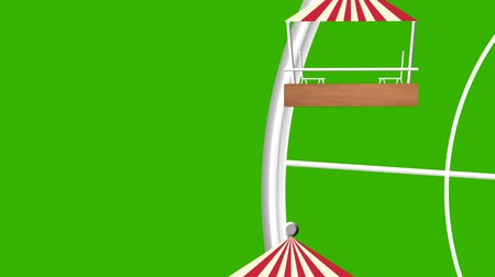 giant wheel : Amusement Park Giant Wheel Vector Seamless Looping on a Green Screen