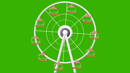 giant wheel : Amusement Park Giant Wheel Turning Vector Seamless Looping Green Screen