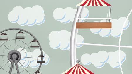 거대한 : Amusement Park Giant Wheels Vector 무비클립